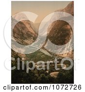 Photochrom Of A Curvy Road And River Norway Royalty Free Historical Stock Photography