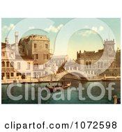 Photochrom Of A Gondola And Waterfront Buildings Venice Royalty Free Historical Stock Photography by JVPD