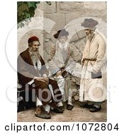 Photochrom Of A Group Of Men In Jerusalem Israel Royalty Free Historical Stock Photography by JVPD