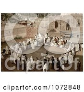 Photochrom Of A Group Of Spectators Circled Around An Arab Juggler Algeria Royalty Free Historical Stock Photography by JVPD