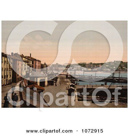 Photochrom of a Harbor, Donostia-San Sebastian on the Bay of Biscay, Spain - Royalty Free Historical Stock Photography by JVPD