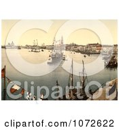 Photochrom Of A Harbor In Venice Royalty Free Historical Stock Photography by JVPD