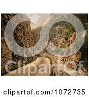Photochrom Of A Horse Drawn Carriage On A Dirt Road Norway Royalty Free Historical Stock Photography
