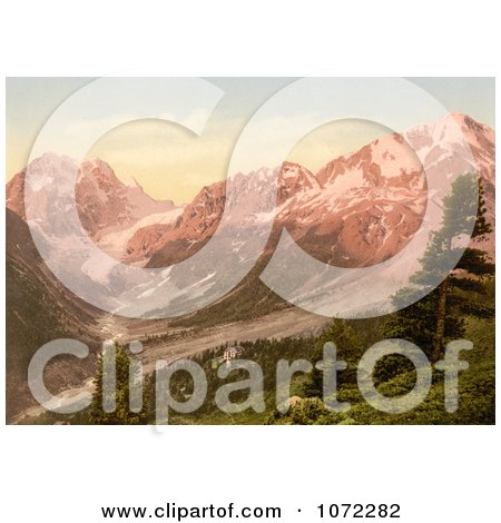 Photochrom of a Hotel in the Swiss Alps, Arolla, Switzerland - Royalty Free Historical Stock Photography by JVPD