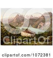 Photochrom Of A Hotel Near Lake Lucerne Switzerland Royalty Free Historical Stock Photography