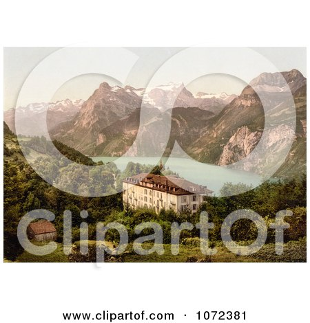 Photochrom of a Hotel Near Lake Lucerne, Switzerland - Royalty Free Historical Stock Photography by JVPD