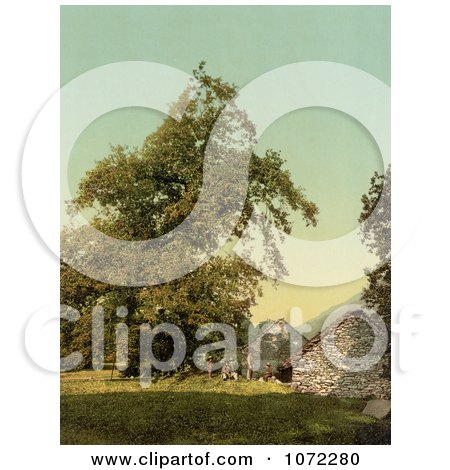 Photochrom of a House in Giornico, Switzerland - Royalty Free Historical Stock Photography by JVPD