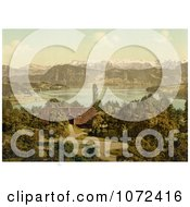 Photochrom Of A House On Lake Lucerne Swiss Alps In The Background Royalty Free Historical Stock Photography by JVPD