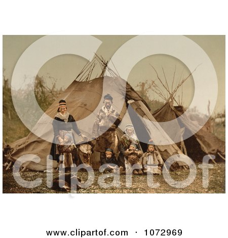 Photochrom of a Lapp Family, Norway - Royalty Free Historical Stock Photography by JVPD