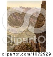 Photochrom Of A Man At A Viewpoint Switzerland Royalty Free Historical Stock Photography