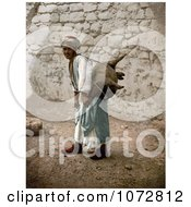 Photochrom Of A Man Carrying An Animal Carcass On His Back Jerusalem Royalty Free Historical Stock Photography