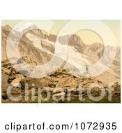 Photochrom Of A Man On The Furkahorn Looking At Furka Pass Royalty Free Historical Stock Photography