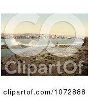 Photochrom Of A Man On The Shore Watching Waves Crash At Sidon Zidon Saida Lebanon Royalty Free Historical Stock Photography