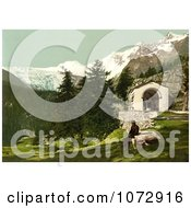 Photochrom Of A Man Seated Near A Chapel In The Swiss Alps Royalty Free Historical Stock Photography