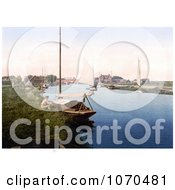 Photochrom Of A Man Sitting By A Boat On The River Thurne Near The Medieval Bridge In Potter Heigham Norfolk East Anglia England Royalty Free Historical Stock Photography by JVPD