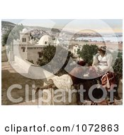 Photochrom Of A Moorish Child And Woman On A Terrace Algeria Royalty Free Historical Stock Photography by JVPD