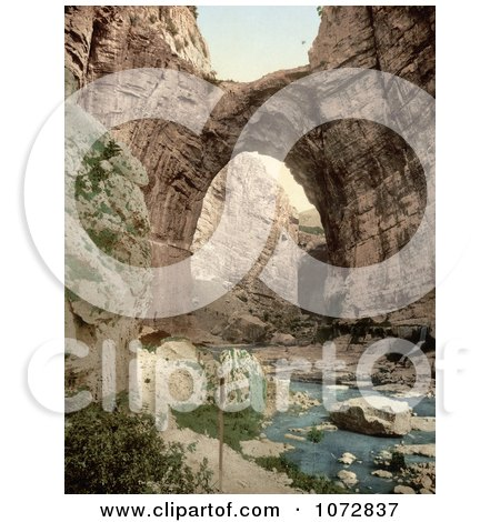 Photochrom of a Natural Arch Over the Stream, Constantine, Algeria - Royalty Free Historical Stock Photography by JVPD