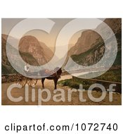 Photochrom Of A Norwegian Woman In A Carriage Hardanger Fjord Royalty Free Historical Stock Photography