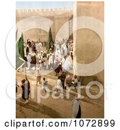 Photochrom Of A Parade In Kairwan Tunisia Royalty Free Historical Stock Photography by JVPD