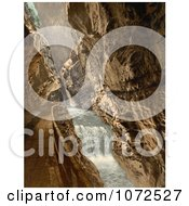 Photochrom Of A Path In The Gorge Of The Tamina Switzerland Royalty Free Historical Stock Photography
