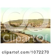 Photochrom Of A Pathway Along The Harbor Zurich Switzerland Royalty Free Historical Stock Photography by JVPD