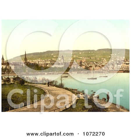 Photochrom of a Pathway Along the Harbor, Zurich, Switzerland - Royalty Free Historical Stock Photography by JVPD