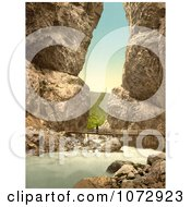 Photochrom Of A Person Crossing A Bridge Over A River Royalty Free Historical Stock Photography