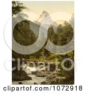 Photochrom Of A Person Crossing Vispach Bridge Matterhorn Mountain Royalty Free Historical Stock Photography