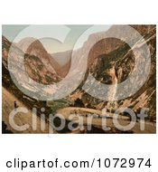Photochrom Of A Person Overlooking A Road And River Naerodalen Norway Royalty Free Historical Stock Photography