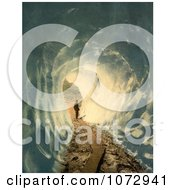 Photochrom Of A Person Through The Grindelwald Grotto Switzerland Royalty Free Historical Stock Photography