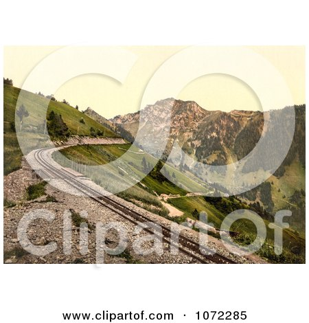 Photochrom of a Railroad Near Rochers de Naye Grand Hotel - Royalty Free Historical Stock Photography by JVPD