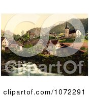 Photochrom Of A River And Homes In Burglen Switzerland Royalty Free Historical Stock Photography by JVPD