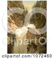 Photochrom Of A River And Waterfall In Gorner Gorge Switzerland Royalty Free Historical Stock Photography by JVPD