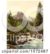 Photochrom Of A River And Wetterhorn Mountain Switzerland Royalty Free Historical Stock Photography
