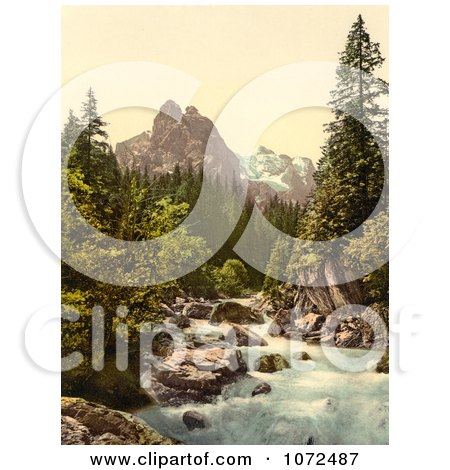 Photochrom of a River and Wetterhorn Mountain, Switzerland - Royalty Free Historical Stock Photography by JVPD