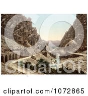 Photochrom Of A Road Bridge And Stream In A Ravine El Cantara Algeria Royalty Free Historical Stock Photography by JVPD