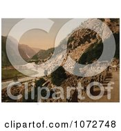 Photochrom Of A Road From Laatefos To Odde Norway Royalty Free Historical Stock Photography