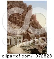 Photochrom Of A Road Through A Ravine El Cantara Algeria Royalty Free Historical Stock Photography