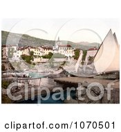 Photochrom Of A Sailboat At Opatija Abbazia Sankt Jakobi Istria Croatia Royalty Free Historical Stock Photography by JVPD