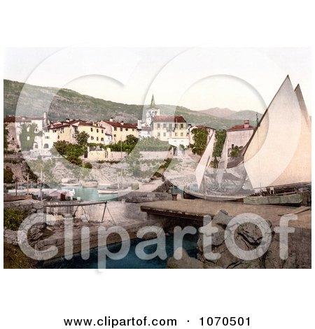 Photochrom of a Sailboat at Opatija, Abbazia, Sankt Jakobi, Istria, Croatia - Royalty Free Historical Stock Photography by JVPD