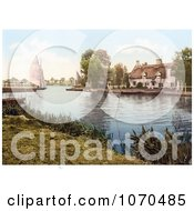Photochrom Of A Sailboat Near A Carriage On A Ferry Crossing The River Bure In Horning Norfolk England Royalty Free Historical Stock Photography by JVPD