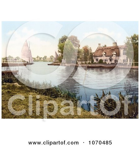 Photochrom of a Sailboat Near a Carriage on a Ferry, Crossing the River Bure in Horning Norfolk England - Royalty Free Historical Stock Photography by JVPD