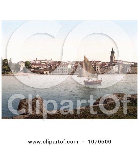 Photochrom Of A Sailboat Near Veglia, Krk, Austro-Hungary - Royalty Free Historical Stock Photography by JVPD
