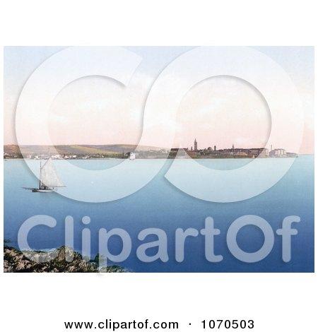 Photochrom of a Sailboat Near Zadar, Iadera, Zara, Croatia - Royalty Free Historical Stock Photography by JVPD