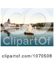 Photochrom Of A Sailboat On Geneva Lake At Ouchy Lausanne Switzerland Royalty Free Historical Stock Photography by JVPD