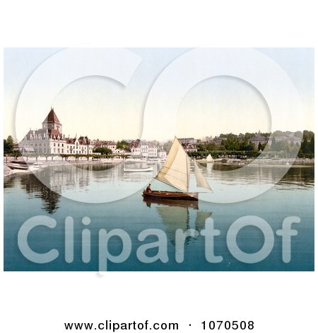 Photochrom Of A Sailboat on Geneva Lake at Ouchy, Lausanne, Switzerland - Royalty Free Historical Stock Photography by JVPD
