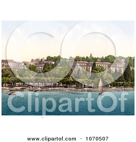 Photochrom of a Sailboat on Geneva Lake Near Hotel Beaurivage in Ouchy, Switzerland - Royalty Free Historical Stock Photography by JVPD