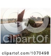 Photochrom Of A Sailboat On The River Bure In Belaugh Norfolk England Royalty Free Historical Stock Photography by JVPD