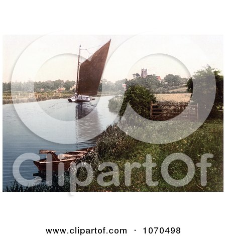 Photochrom of a Sailboat on the River Bure in Belaugh, Norfolk, England - Royalty Free Historical Stock Photography by JVPD
