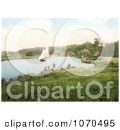 Photochrom Of A Sailboat On The River Yare A Sailboat In The Background Bramerton South Norfolk England Royalty Free Historical Stock Photography